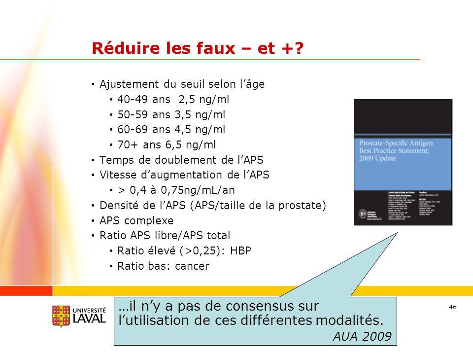Réduire les faux – et + Ajustement du seuil selon l'âge. 40-49 ans 2,5 ng/ml. 50-59 ans 3,5 ng/ml.