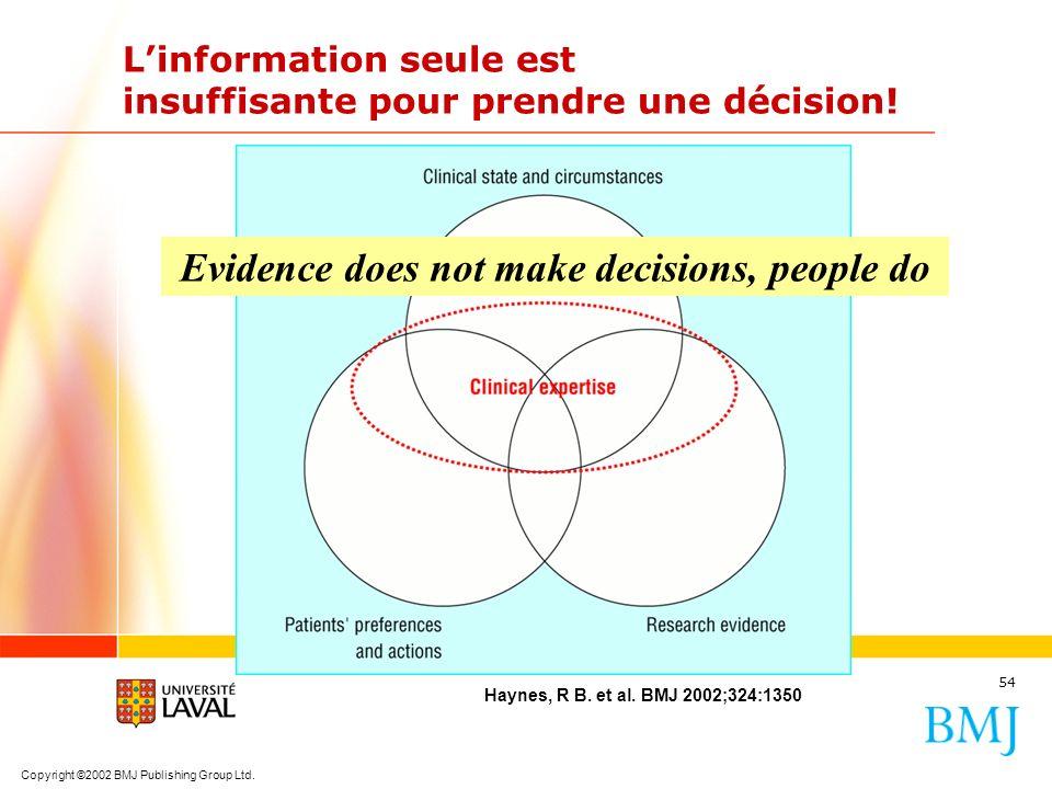 L'information seule est insuffisante pour prendre une décision!