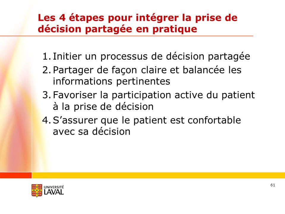 Les 4 étapes pour intégrer la prise de décision partagée en pratique