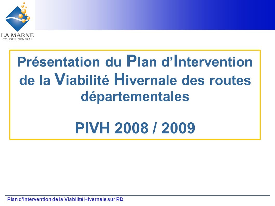 Présentation du Plan d'Intervention de la Viabilité Hivernale des routes départementales