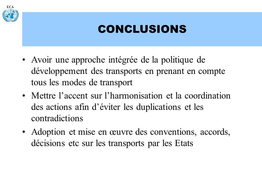 ECA CONCLUSIONS. Avoir une approche intégrée de la politique de développement des transports en prenant en compte tous les modes de transport.
