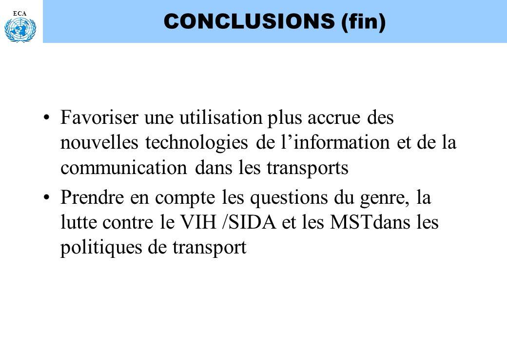 CONCLUSIONS (fin) ECA. Favoriser une utilisation plus accrue des nouvelles technologies de l'information et de la communication dans les transports.
