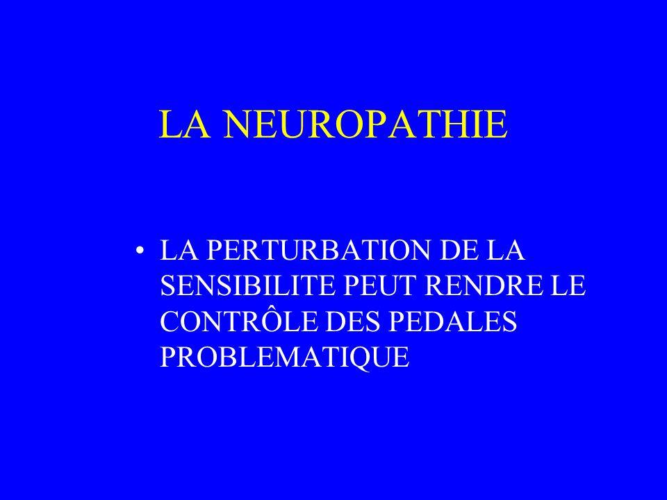 LA NEUROPATHIE LA PERTURBATION DE LA SENSIBILITE PEUT RENDRE LE CONTRÔLE DES PEDALES PROBLEMATIQUE