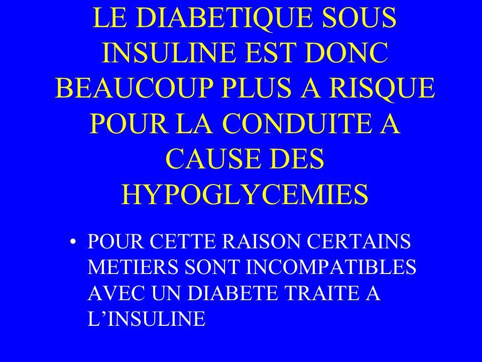 LE DIABETIQUE SOUS INSULINE EST DONC BEAUCOUP PLUS A RISQUE POUR LA CONDUITE A CAUSE DES HYPOGLYCEMIES