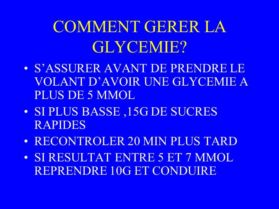 COMMENT GERER LA GLYCEMIE