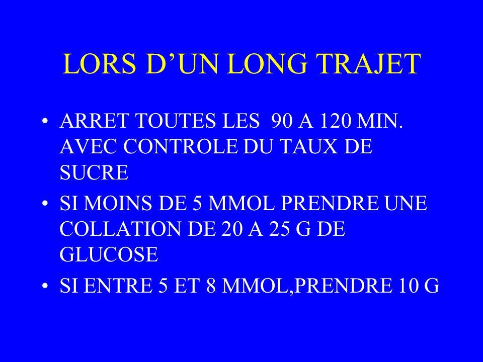 LORS D'UN LONG TRAJET ARRET TOUTES LES 90 A 120 MIN. AVEC CONTROLE DU TAUX DE SUCRE.