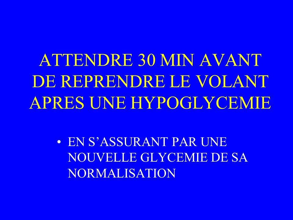 ATTENDRE 30 MIN AVANT DE REPRENDRE LE VOLANT APRES UNE HYPOGLYCEMIE