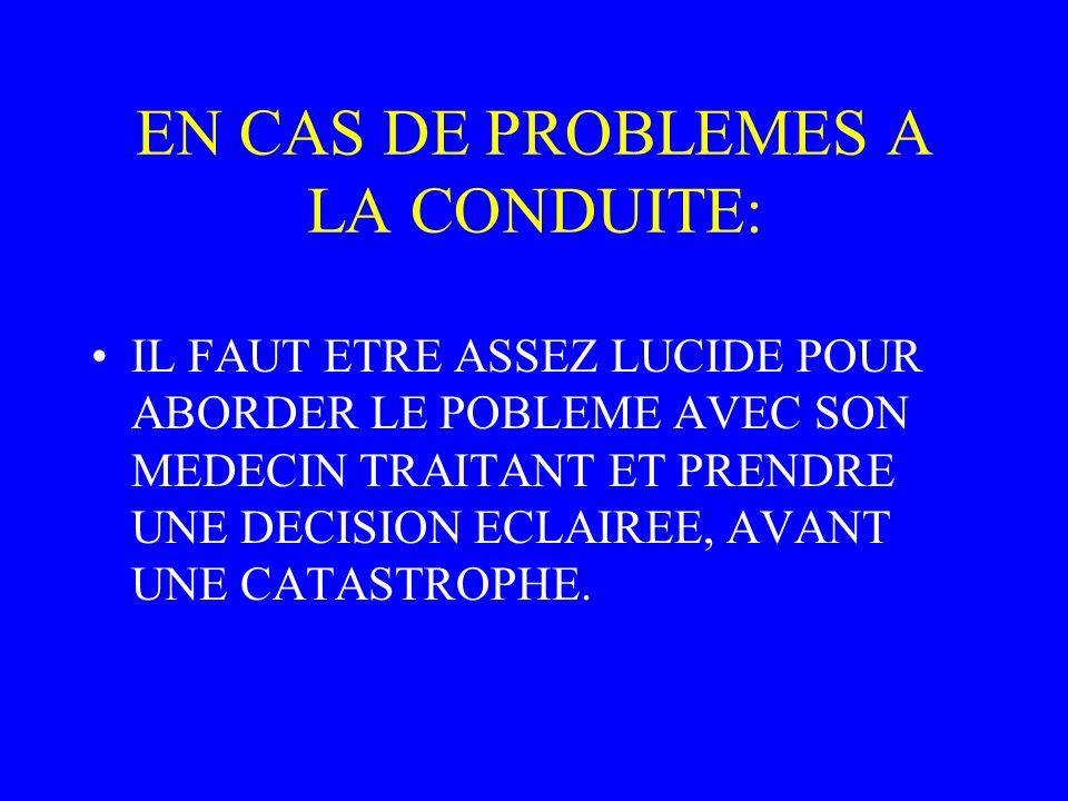 EN CAS DE PROBLEMES A LA CONDUITE: