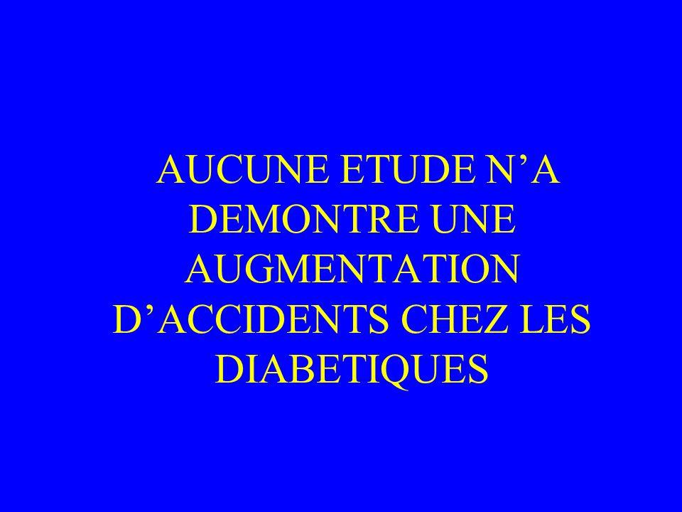 AUCUNE ETUDE N'A DEMONTRE UNE AUGMENTATION D'ACCIDENTS CHEZ LES DIABETIQUES