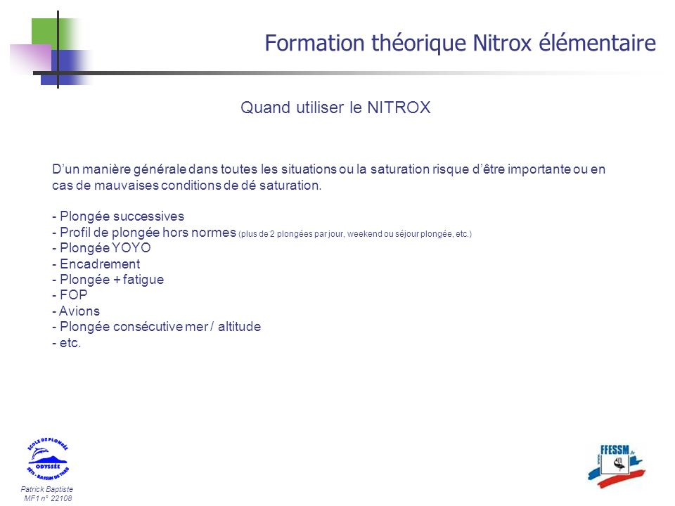 Formation théorique Nitrox élémentaire
