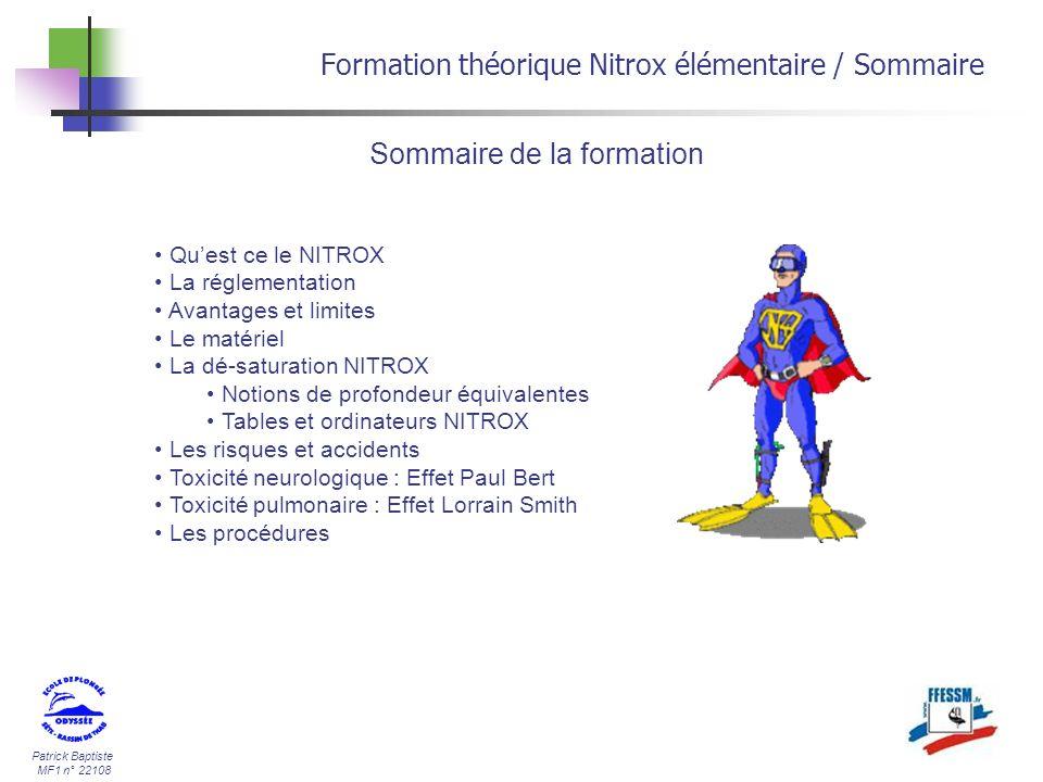 Formation théorique Nitrox élémentaire / Sommaire