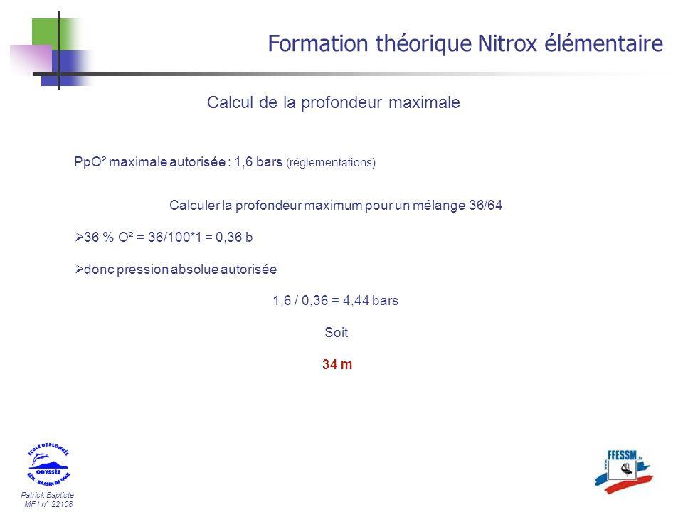 Calculer la profondeur maximum pour un mélange 36/64