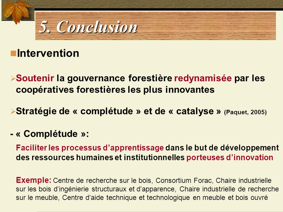 5. Conclusion Intervention