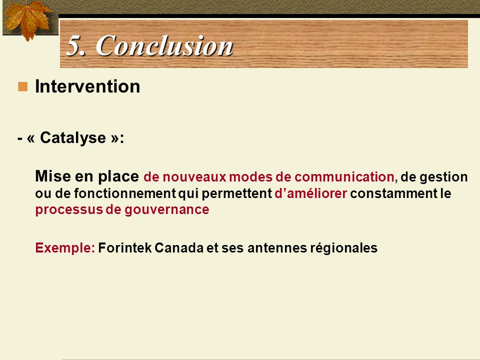 5. Conclusion Intervention - « Catalyse »: