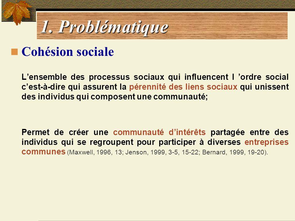 1. Problématique Cohésion sociale