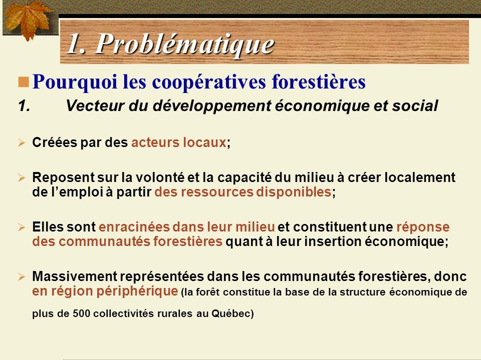 1. Problématique Pourquoi les coopératives forestières