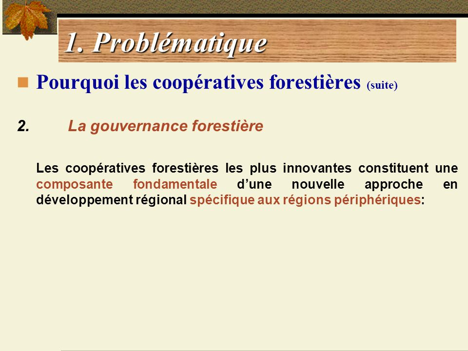 1. Problématique Pourquoi les coopératives forestières (suite)