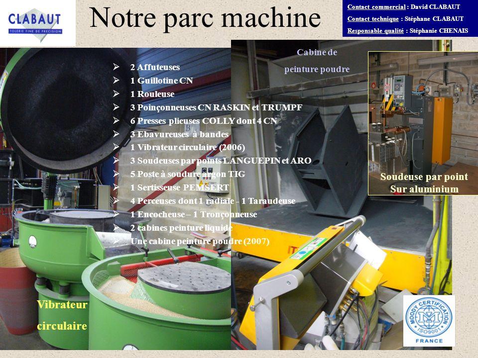 Notre parc machine Vibrateur circulaire Soudeuse par point