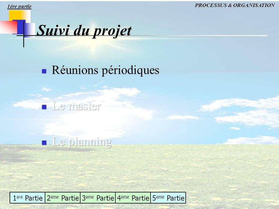 Suivi du projet Réunions périodiques Le master Le planning