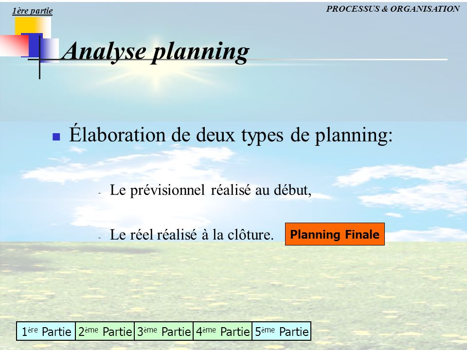 Analyse planning Élaboration de deux types de planning: