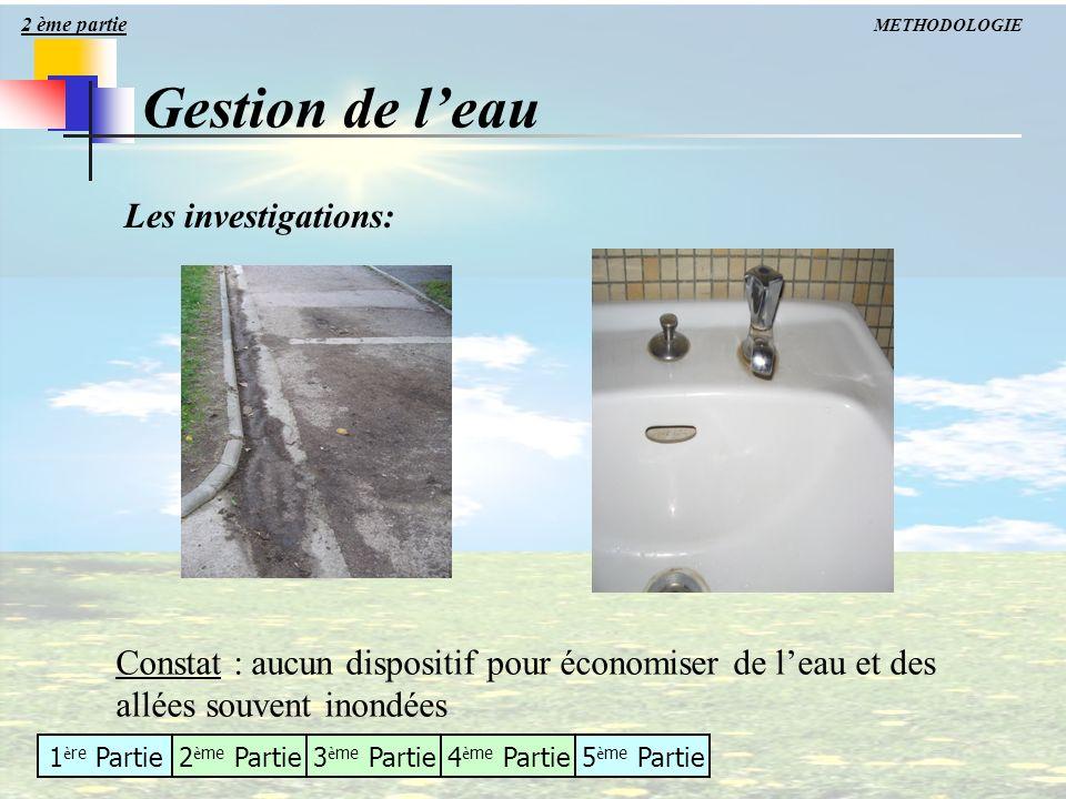 Gestion de l'eau Les investigations: