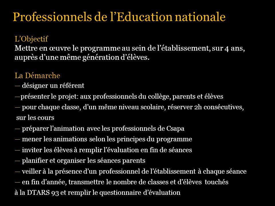 Professionnels de l'Education nationale