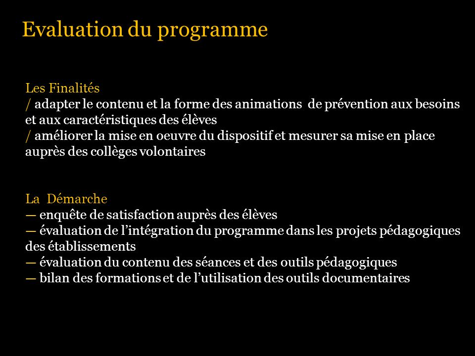Evaluation du programme