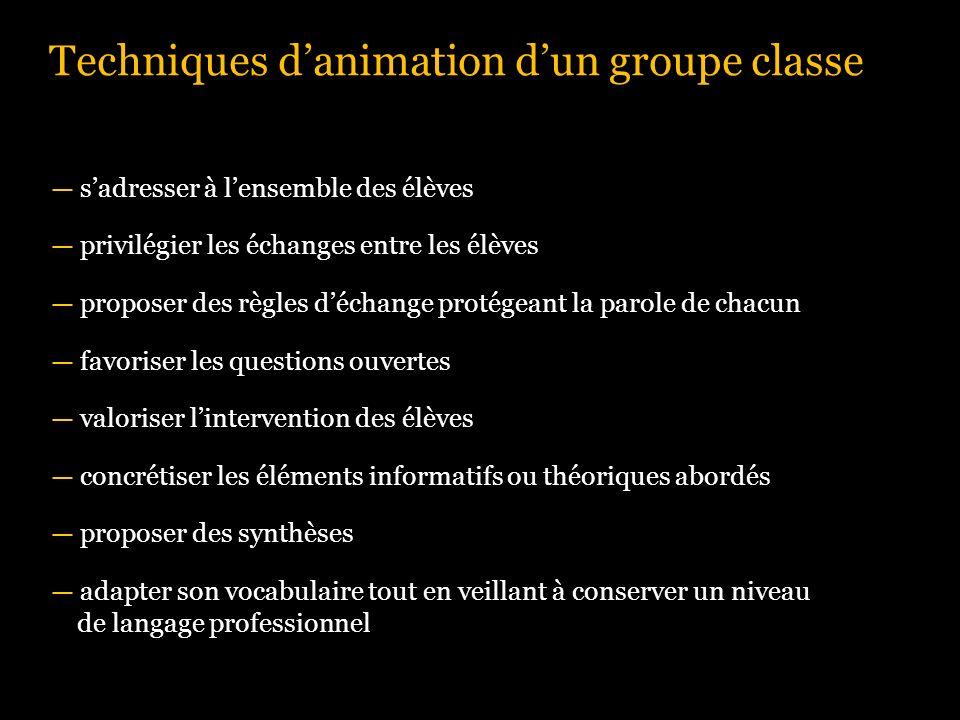 Techniques d'animation d'un groupe classe