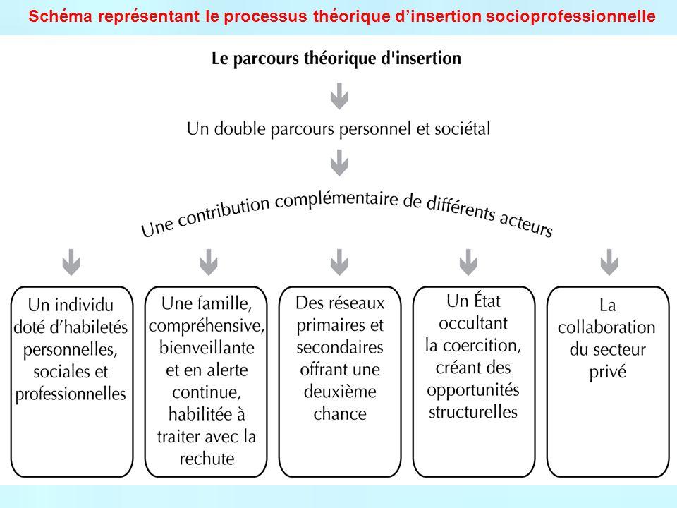 Schéma représentant le processus théorique d'insertion socioprofessionnelle