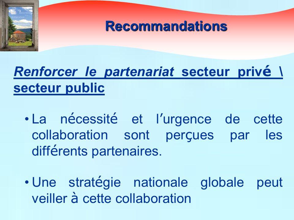 Recommandations Renforcer le partenariat secteur privé \ secteur public.