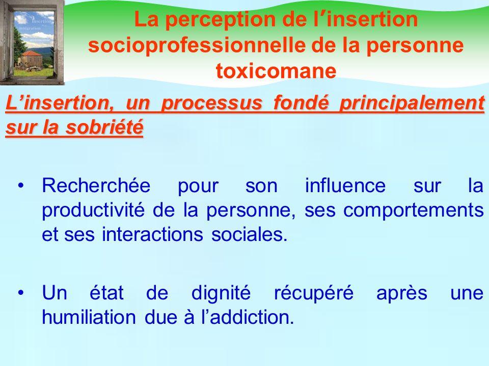 La perception de l'insertion socioprofessionnelle de la personne toxicomane