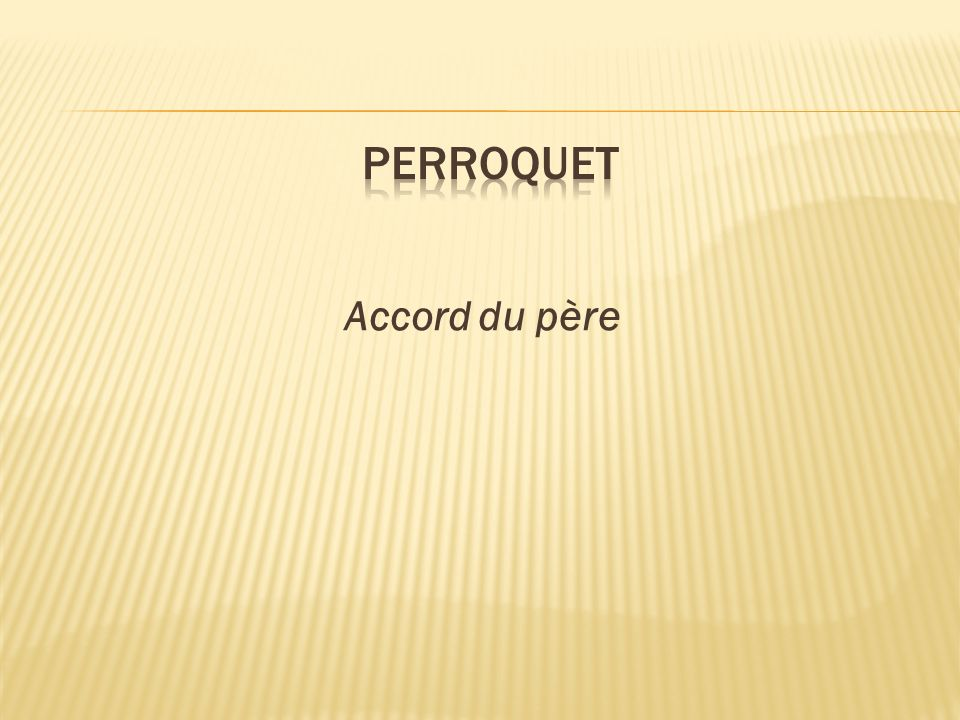 perroquet Accord du père