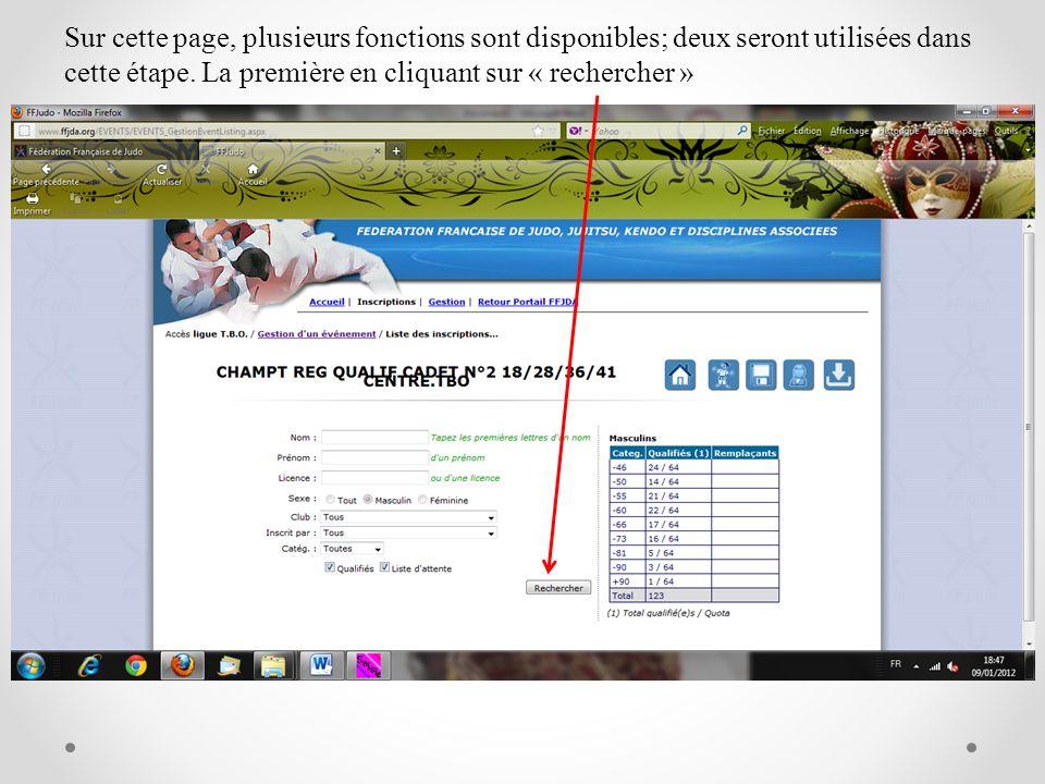 Sur cette page, plusieurs fonctions sont disponibles; deux seront utilisées dans cette étape.