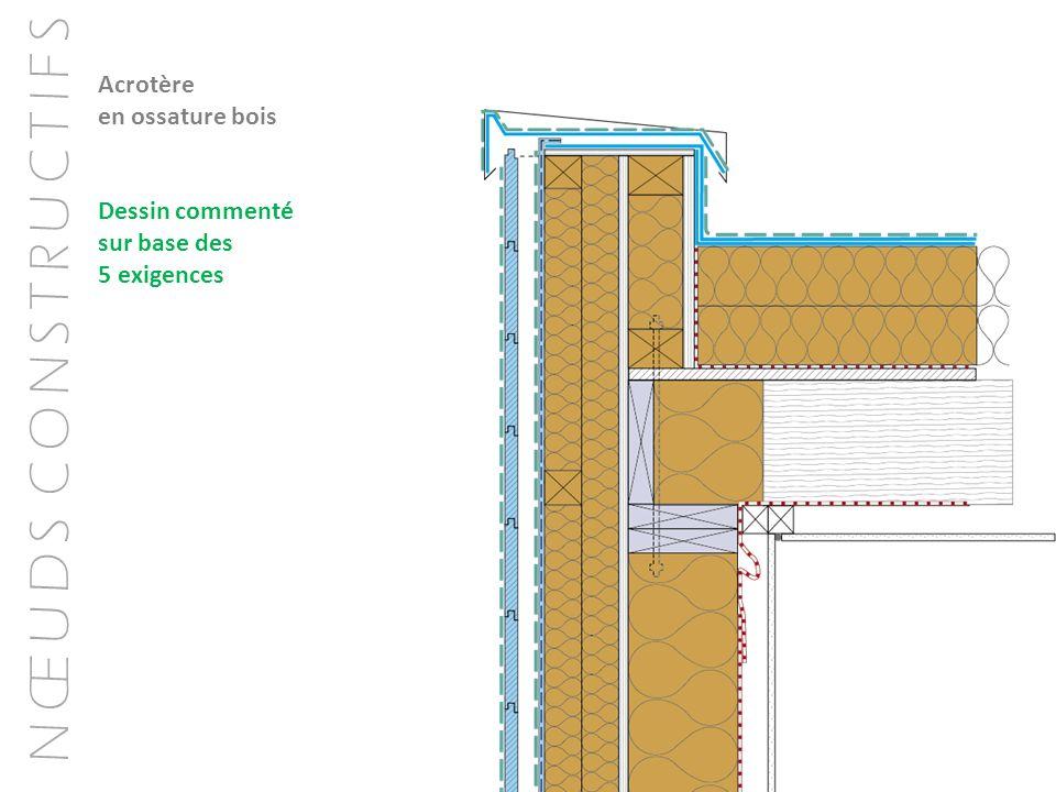 Acrotère en ossature bois Dessin commenté sur base des 5 exigences
