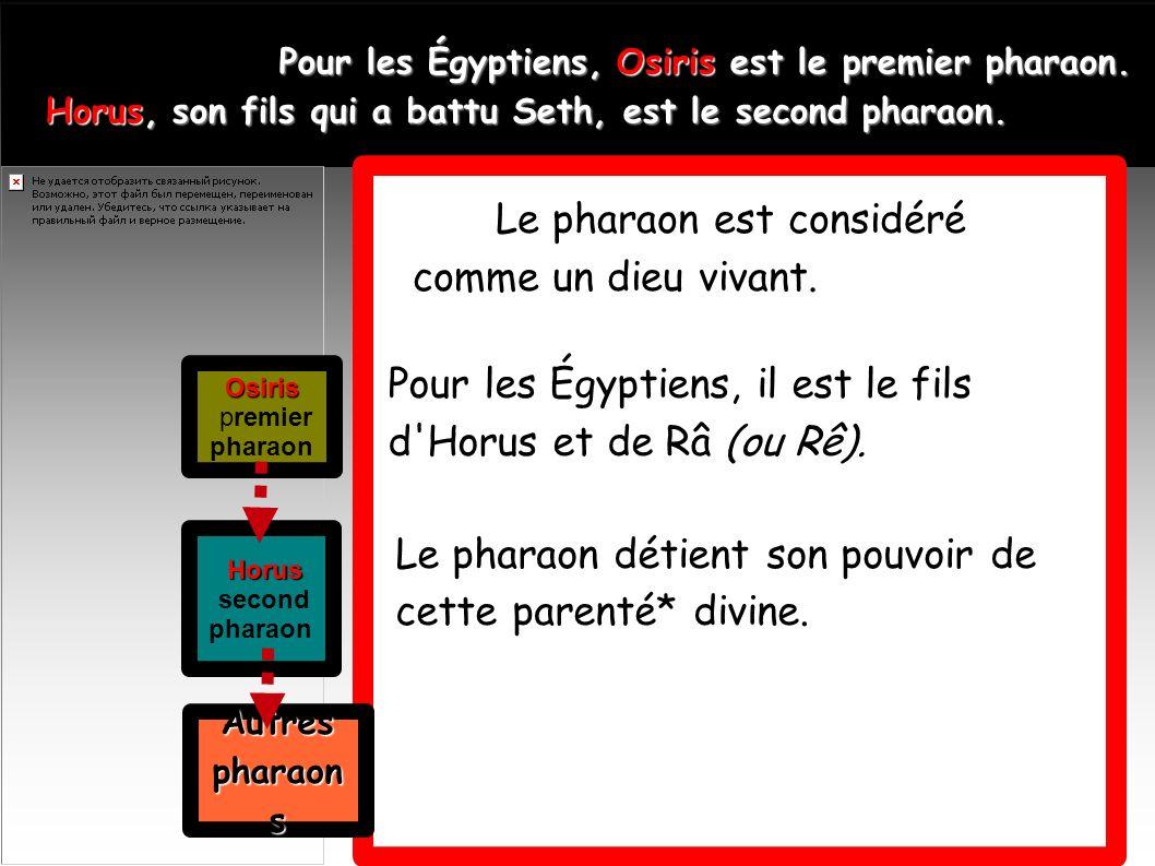 Le pharaon est considéré comme un dieu vivant.