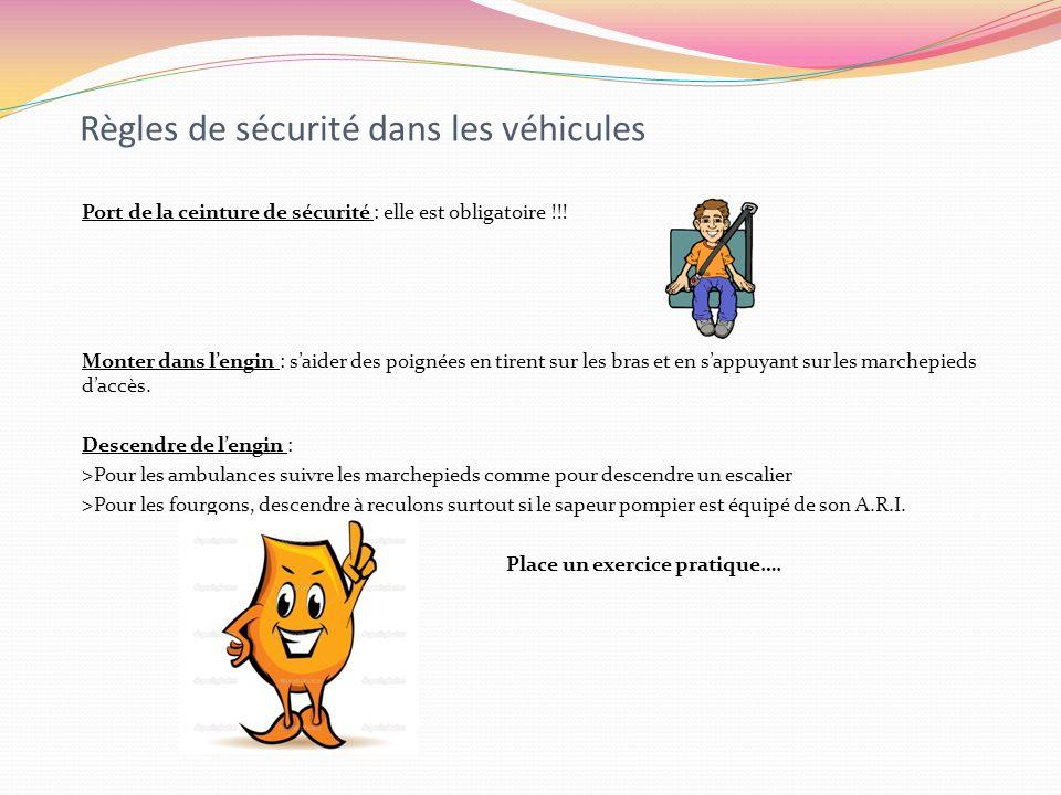 Règles de sécurité dans les véhicules