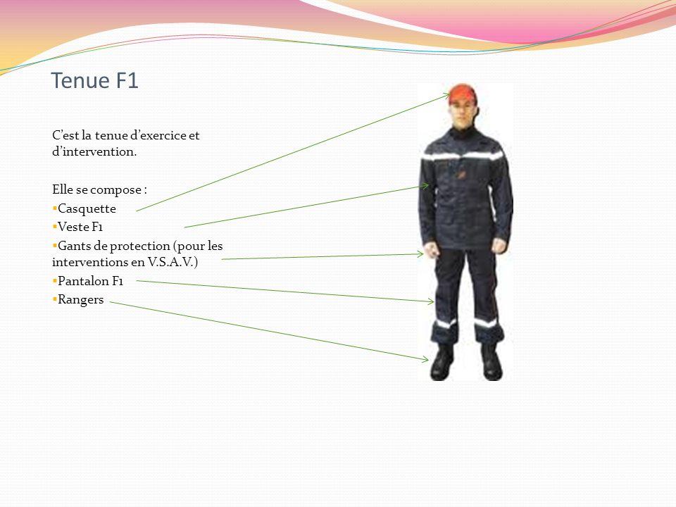 Tenue F1 C'est la tenue d'exercice et d'intervention.