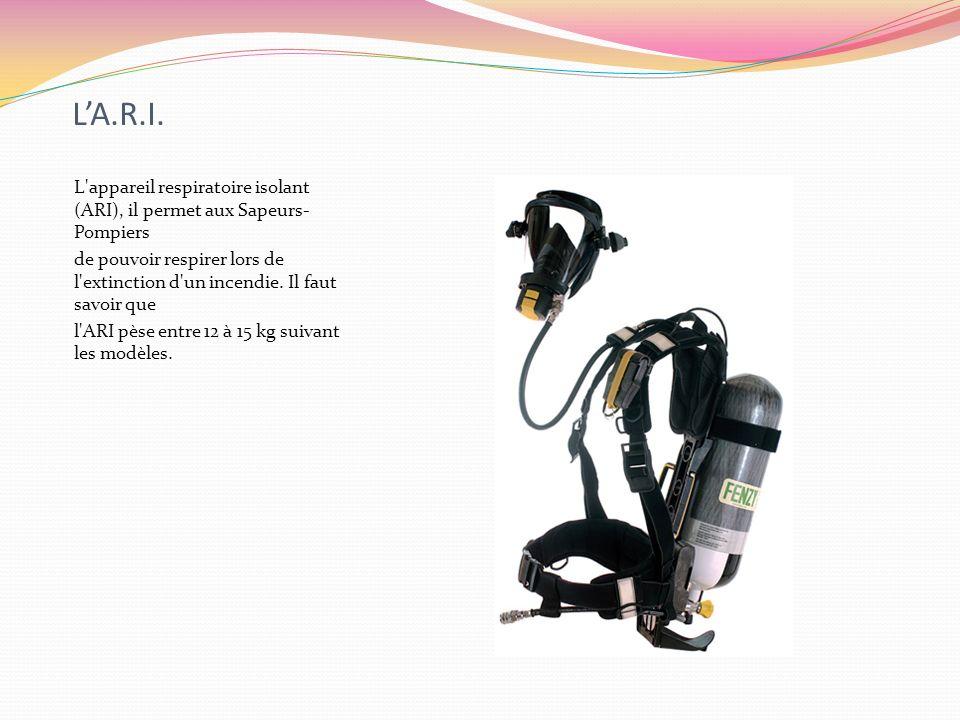 L'A.R.I. L appareil respiratoire isolant (ARI), il permet aux Sapeurs-Pompiers.