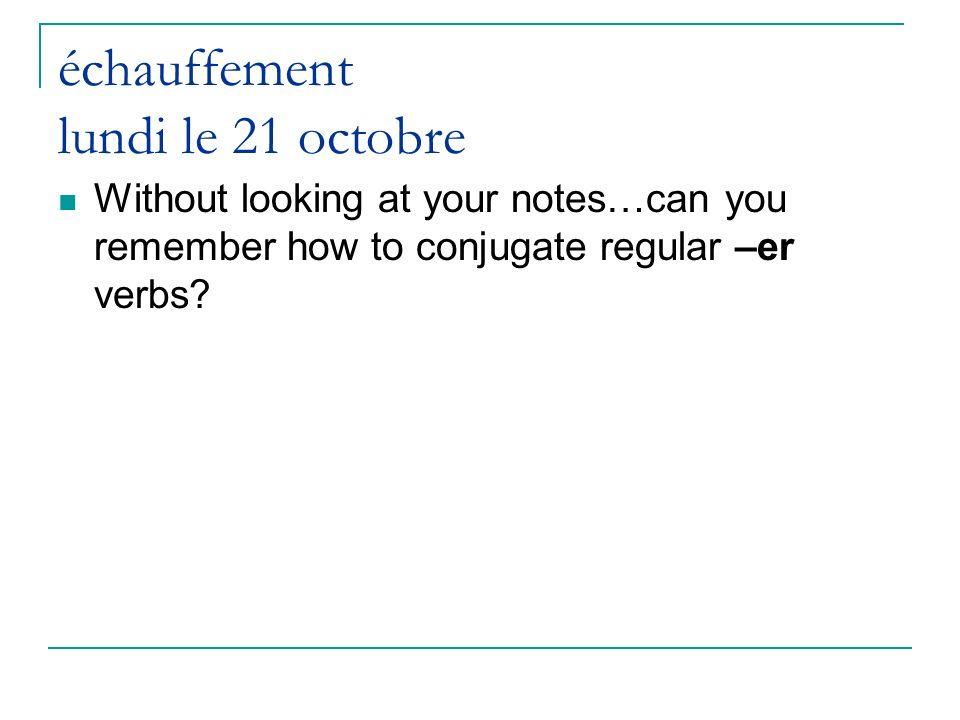 échauffement lundi le 21 octobre