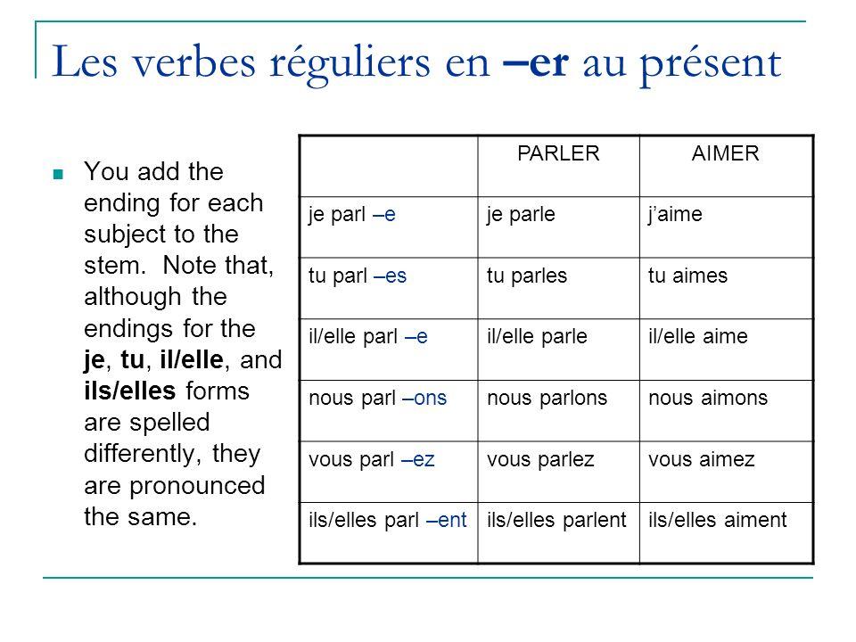 Les verbes réguliers en –er au présent