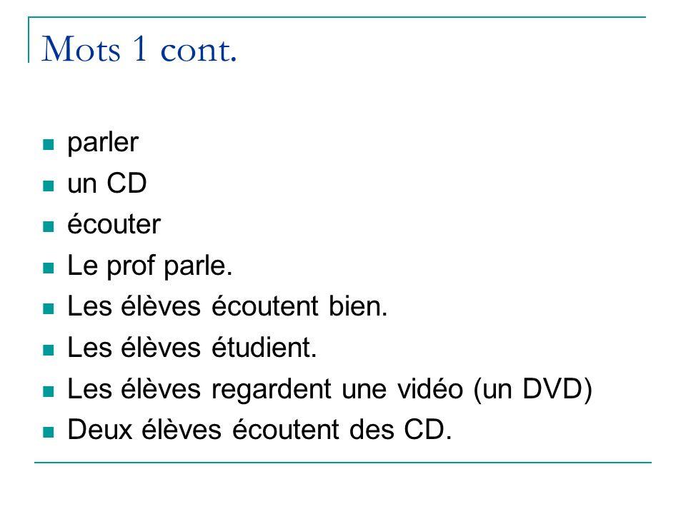 Mots 1 cont. parler un CD écouter Le prof parle.