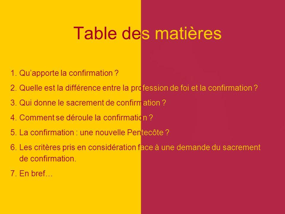 Table des matières 1. Qu'apporte la confirmation