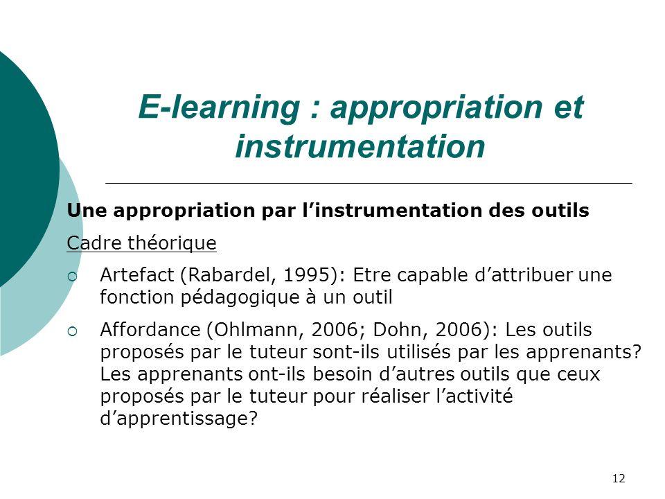 E-learning : appropriation et instrumentation