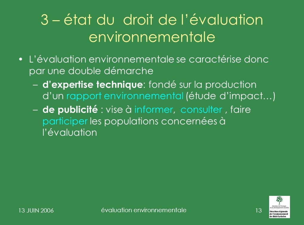 3 – état du droit de l'évaluation environnementale