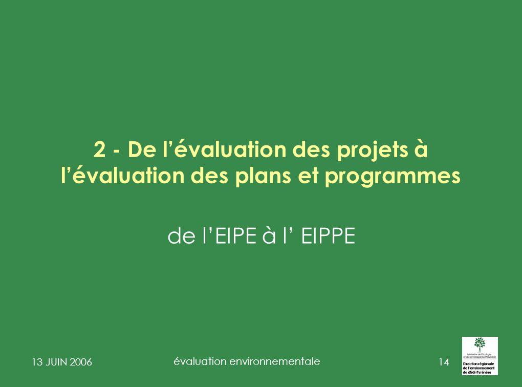 2 - De l'évaluation des projets à l'évaluation des plans et programmes