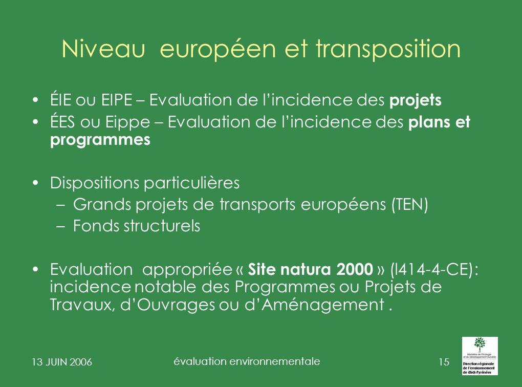Niveau européen et transposition