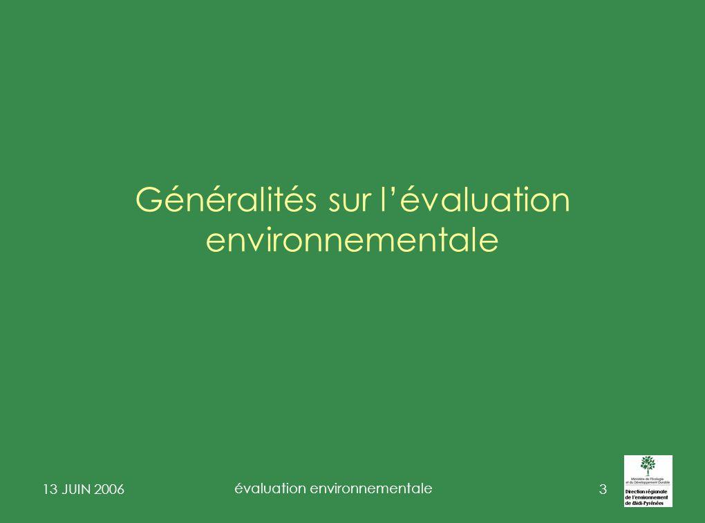 Généralités sur l'évaluation environnementale