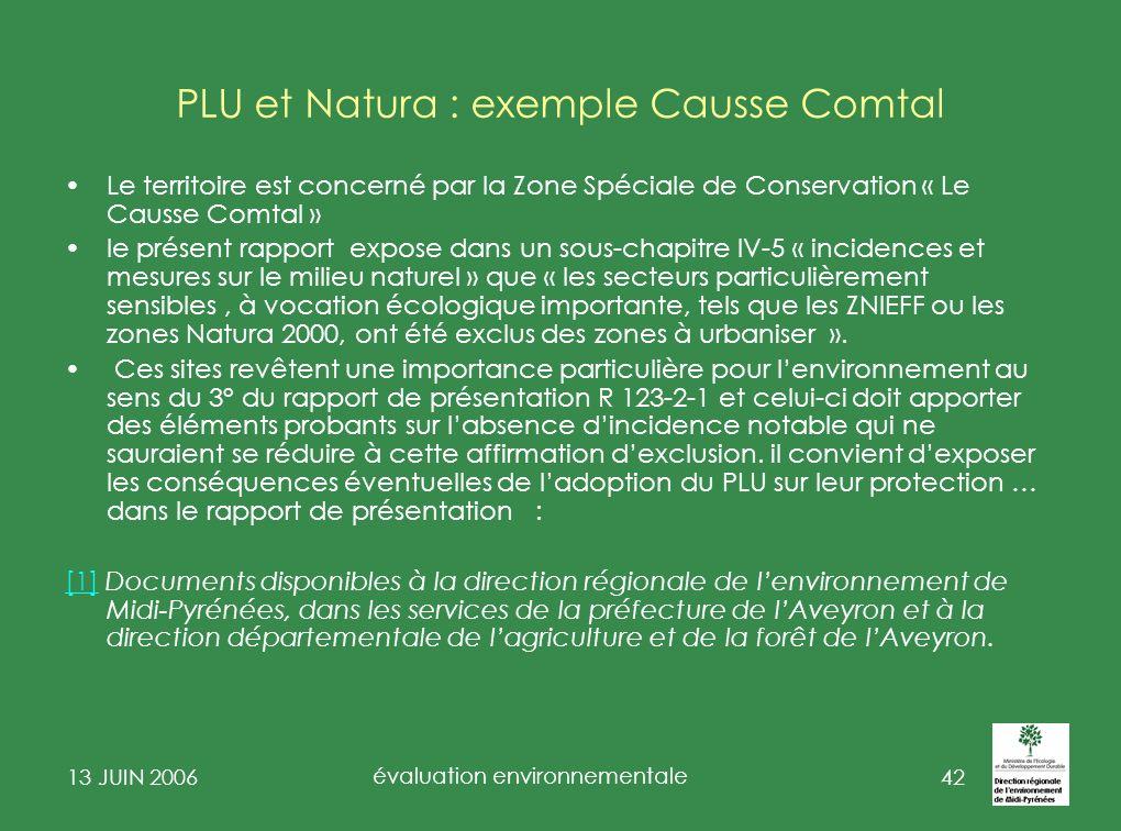PLU et Natura : exemple Causse Comtal