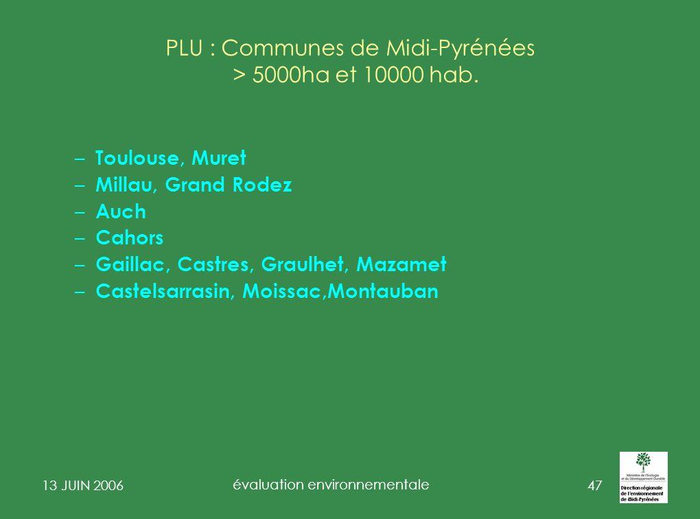 PLU : Communes de Midi-Pyrénées > 5000ha et 10000 hab.