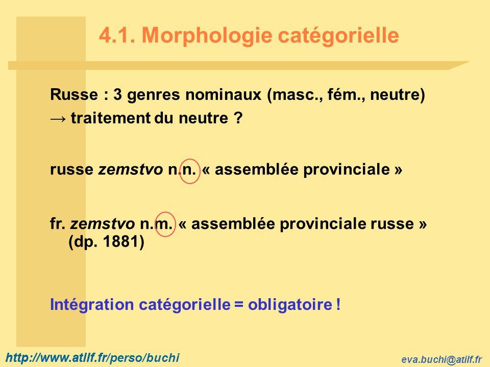 4.1. Morphologie catégorielle